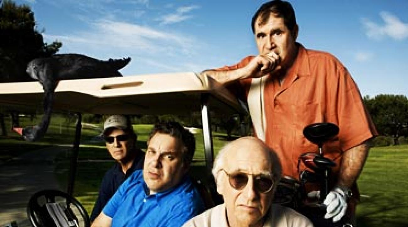 From left: Bob Einstein, Jeff Garlin, Larry David and Richard Kind, photographed at MountainGate Country Club in Los Angeles.