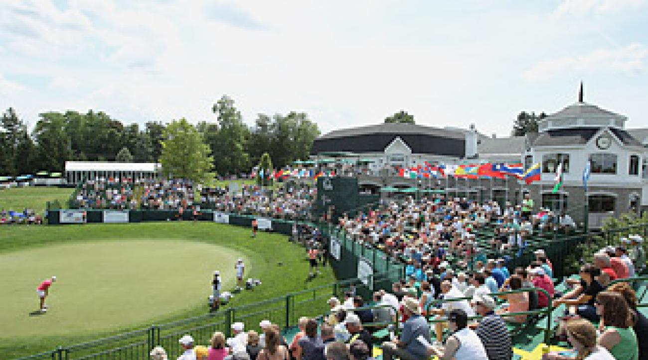 The 18th green during the 2012 LPGA Championship at Locust HIll.