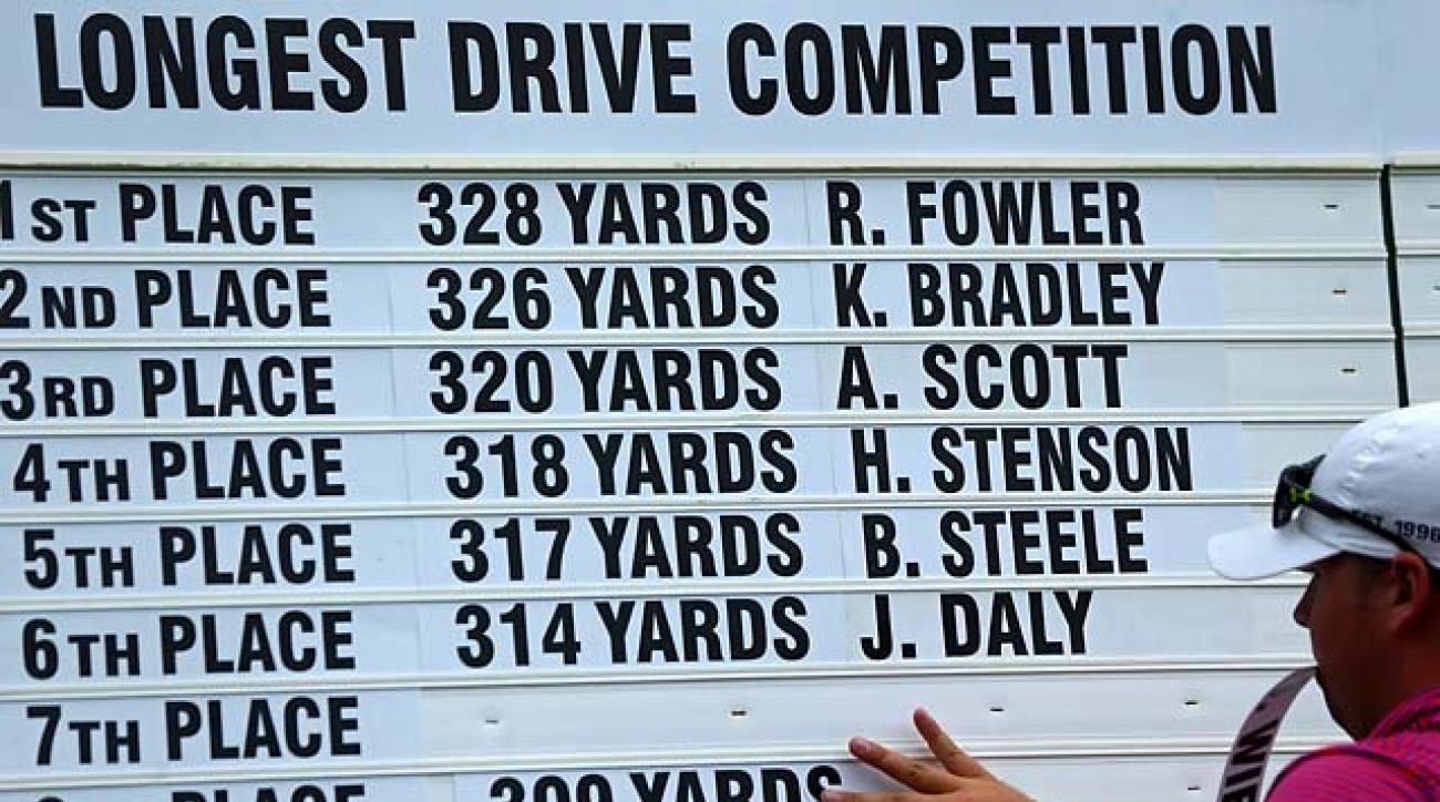 The Long Drive leaderboard at Valhalla's 10th hole on Tuesday.