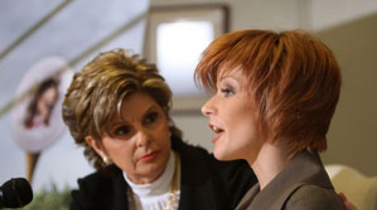 Former adult film actress Joslyn James, right, with her attorney Gloria Allred in February.