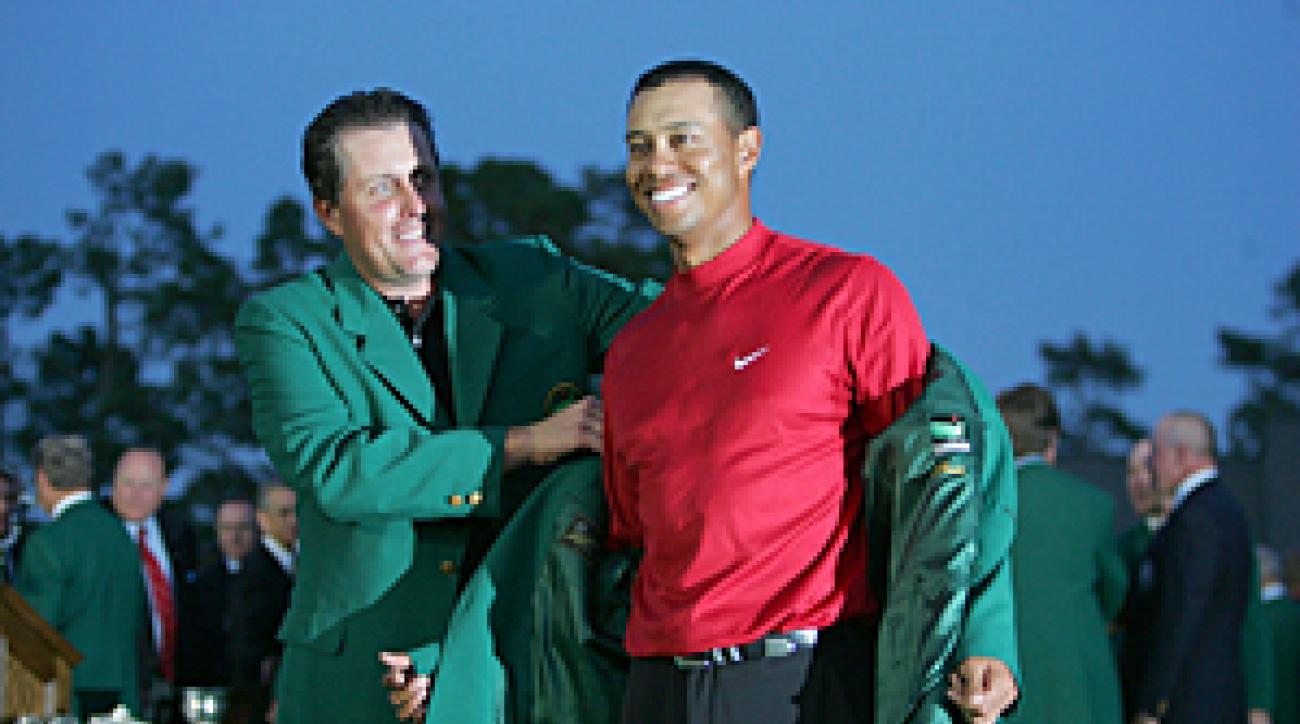 Tiger Woods and Phil Mickelson at the 2005 Masters.