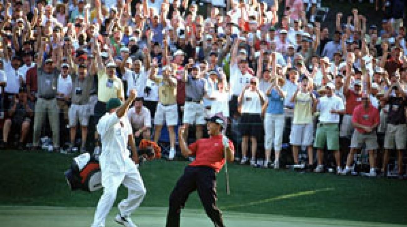 Tiger Woods chipped in on 16 at the 2005 Masters.