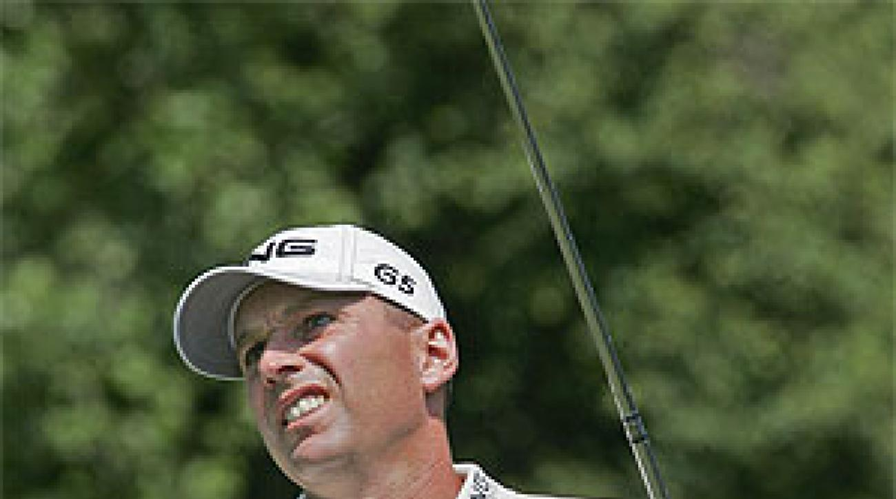 Kevin Sutherland birdied his final three holes during the first round of the AT&T Classic.