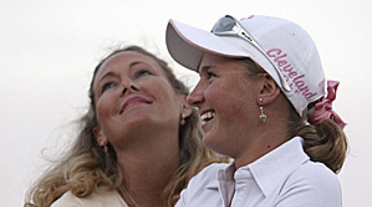 Dakoda Dowd with her mother, Kelly Jo, at the Ginn Open last year. Dakoda was only 13 when she played in the LPGA event.