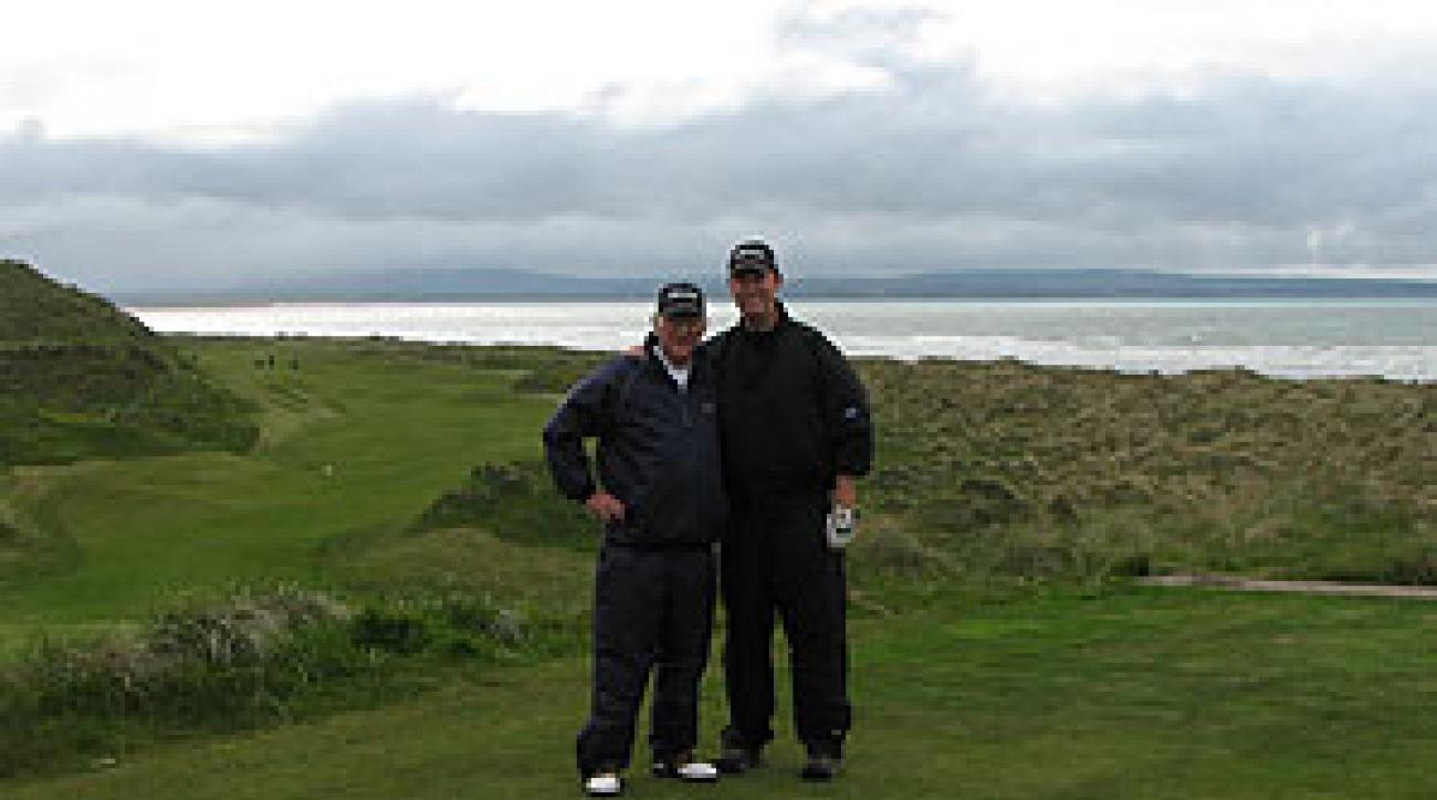 Tom Coyne and his dad, Jim, at Enniscrone