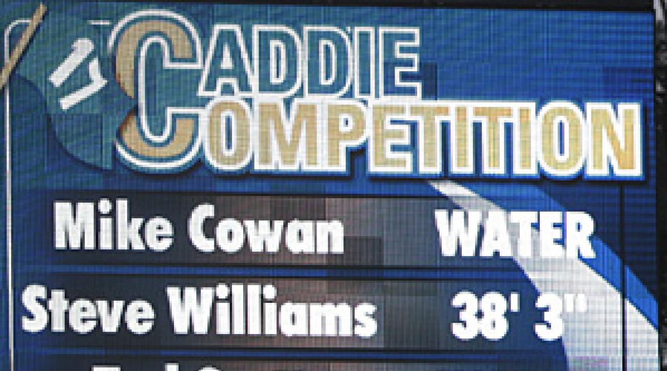 The caddies even had their own scoreboard at No. 17 on Wednesday.