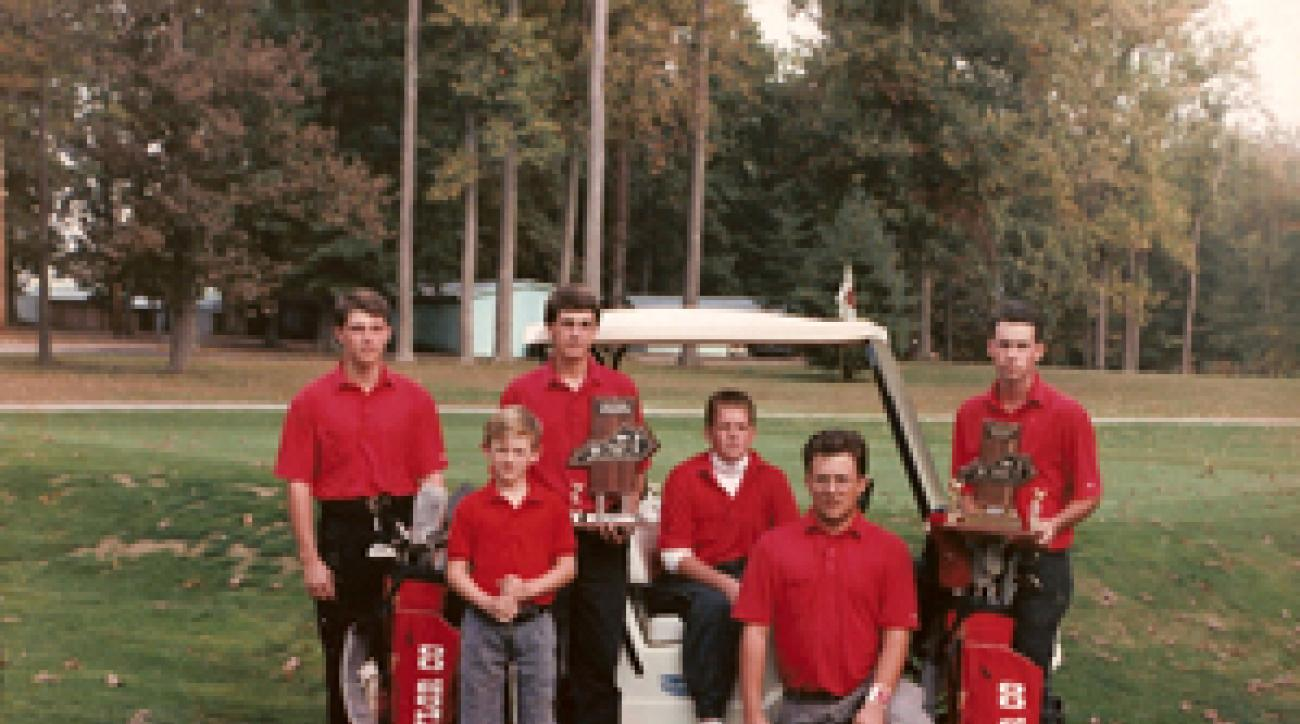Holmes, second from left, managed to make his high-school golf team -- as a third-grader.