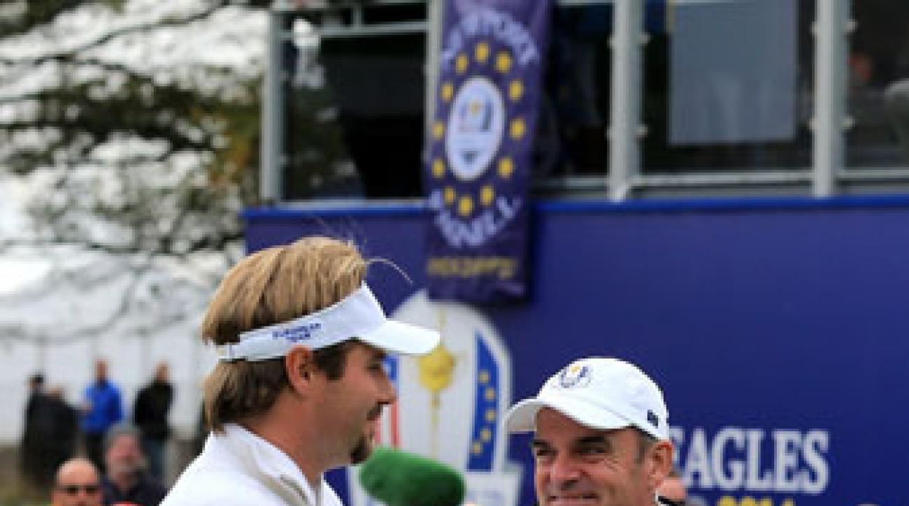 Captain Paul McGinley, Victor Dubuisson and the rest of Team Europe have a commanding lead headed to Sunday singles.
