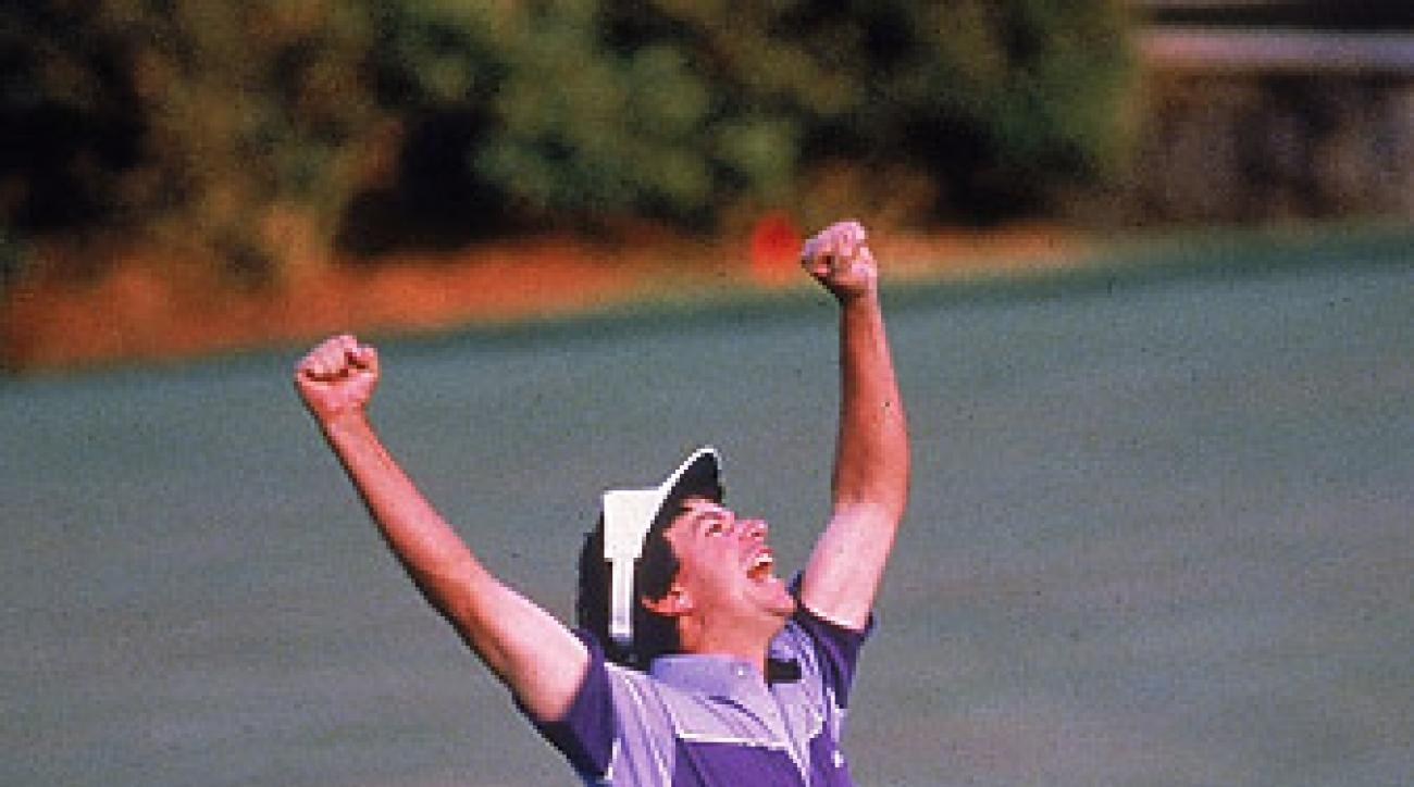 Larry Mize chipped in to defeat Greg Norman in a playoff at the 1987 Masters.