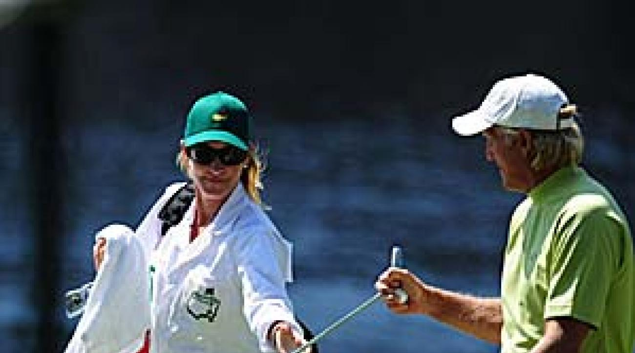 Chris Evert was on the bag for Greg Norman on Wednesday.