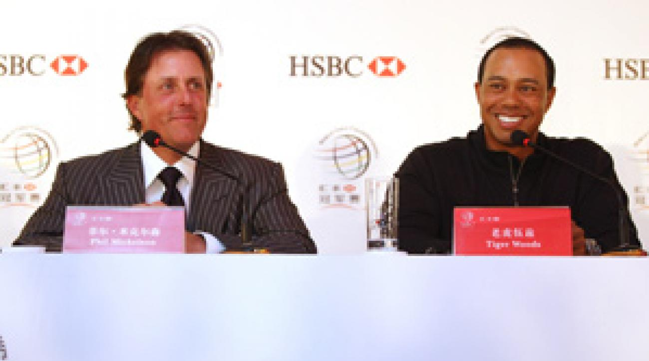 This is the first time Tiger Woods and Phil Mickelson have been in the same tournament in Asia.