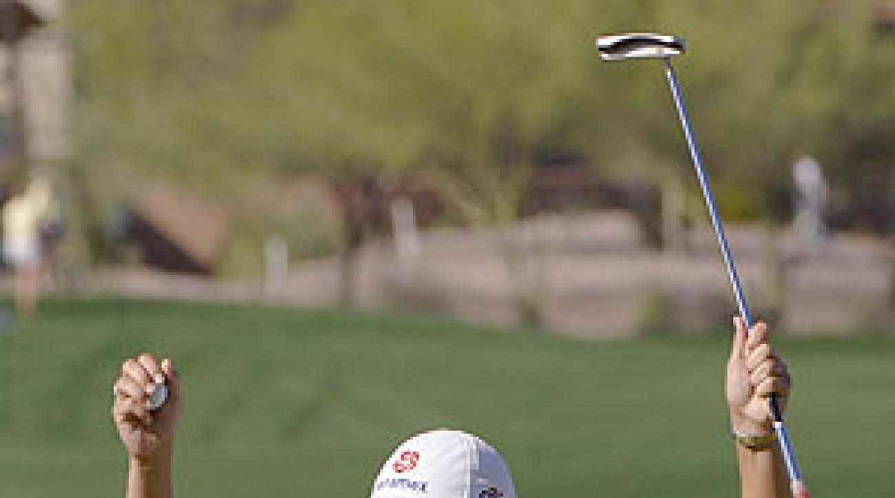 Ochoa squandered a four-stroke lead on Sunday, then birdied four of the last five holes to come from behind at Superstition Mountain.