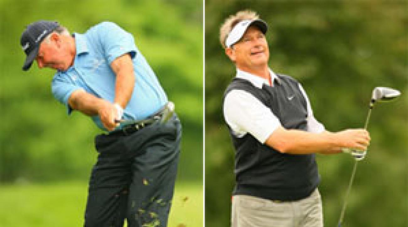 O'Meara (left) came in 14th and Cook 17th at the Senior PGA.