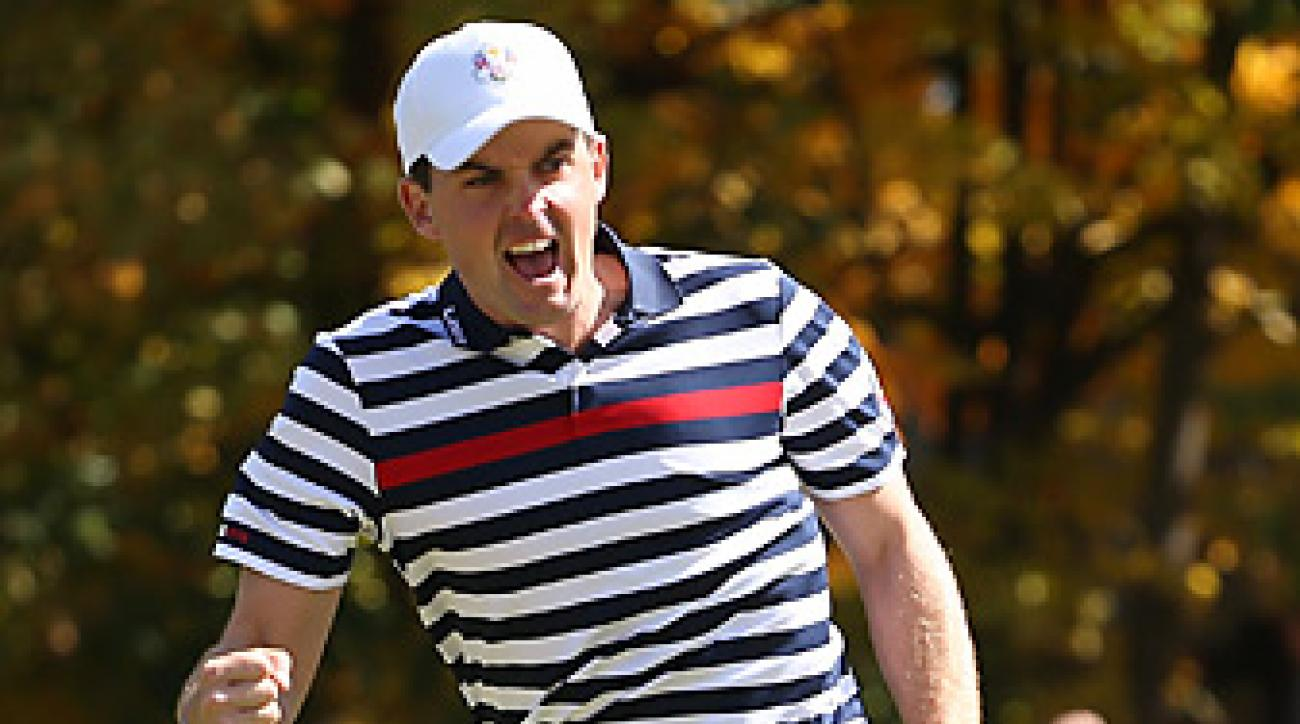 Keegan Bradley, shown here at the 2012 Ryder Cup, is one of several pros who have had success using a long putter.