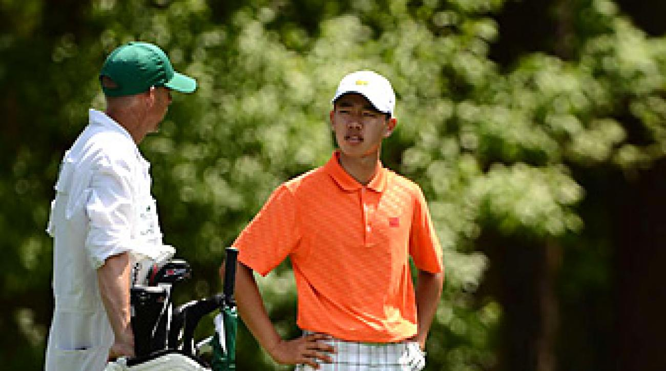 Tianlang Guan was hit with a one-shot penalty for slow play in the second round at the Masters.