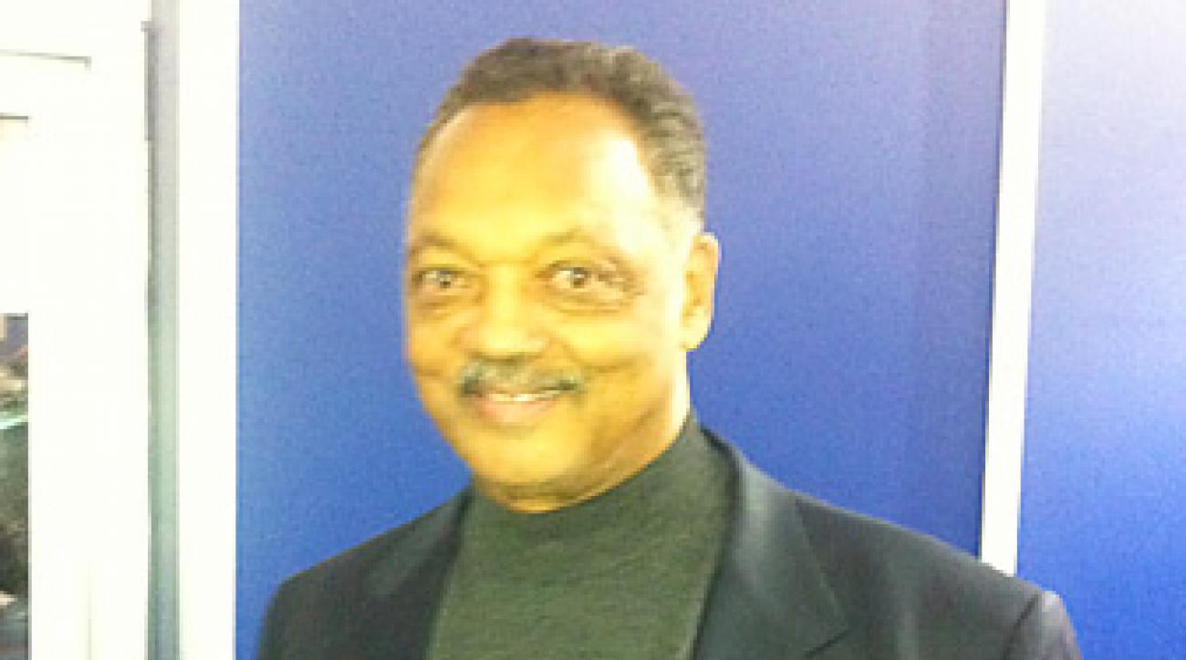 Jesse Jackson, in the media center at Medinah.
