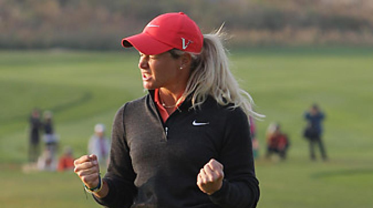 Suzann Pettersen made a five-footer for birdie to win in a playoff.