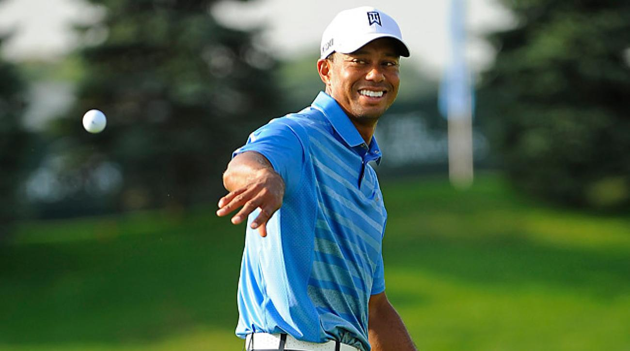 Tiger Woods played the Thursday morning pro-am at the Deutsche Bank Championship.