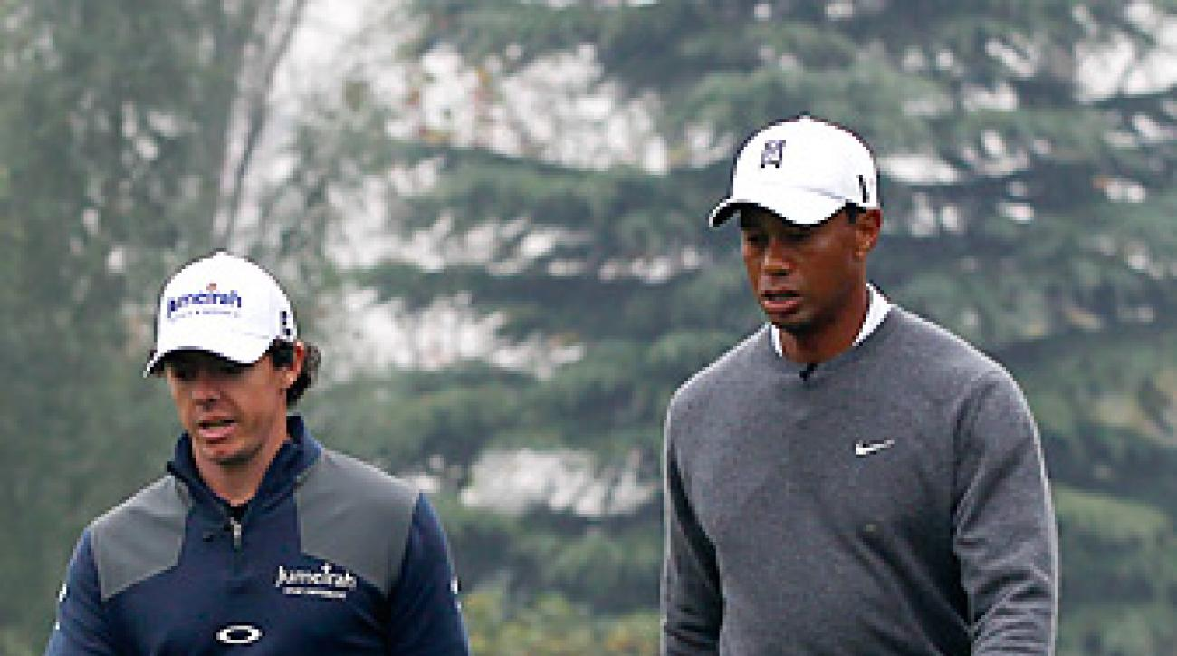 Rory McIlroy beat Tiger Woods by one shot in their exhibition match in China.