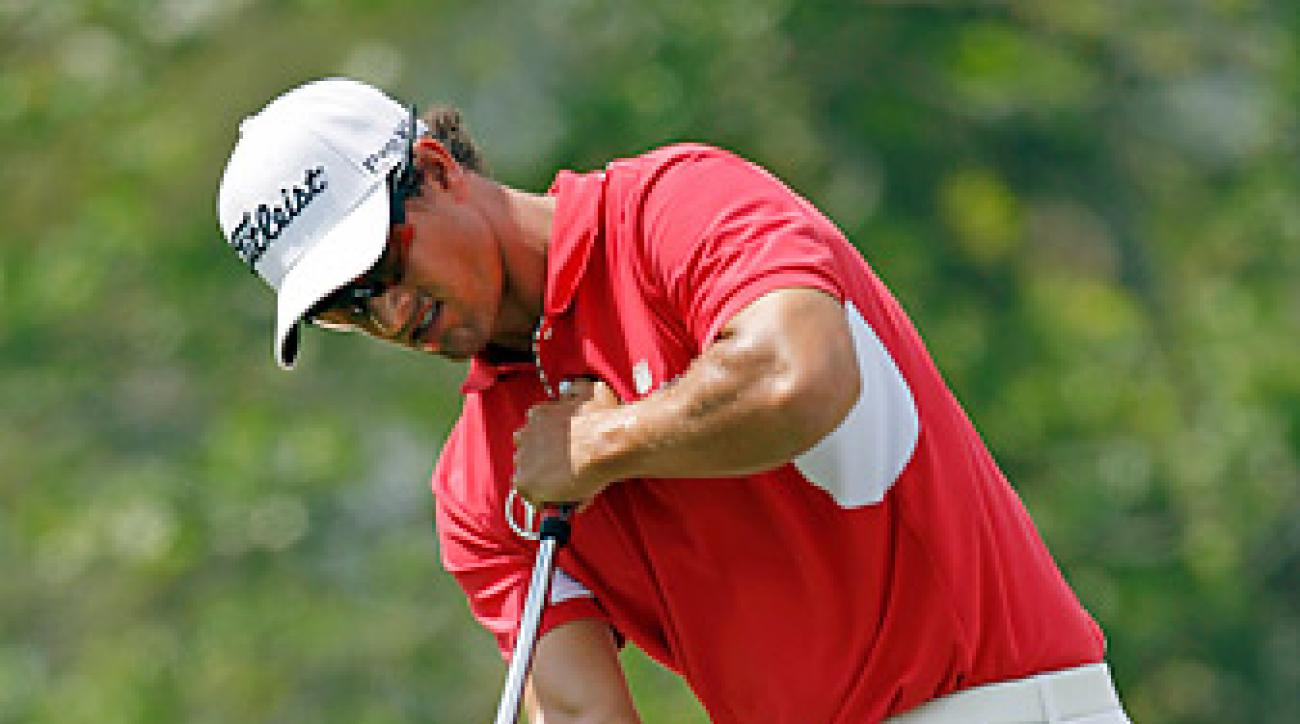 Adam Scott with play just his 10th competitive round of the year on Thursday at the Masters.