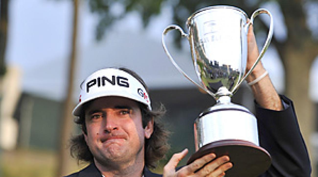 Bubba Watson rallied from a six-shot deficit to win his first PGA Tour title.