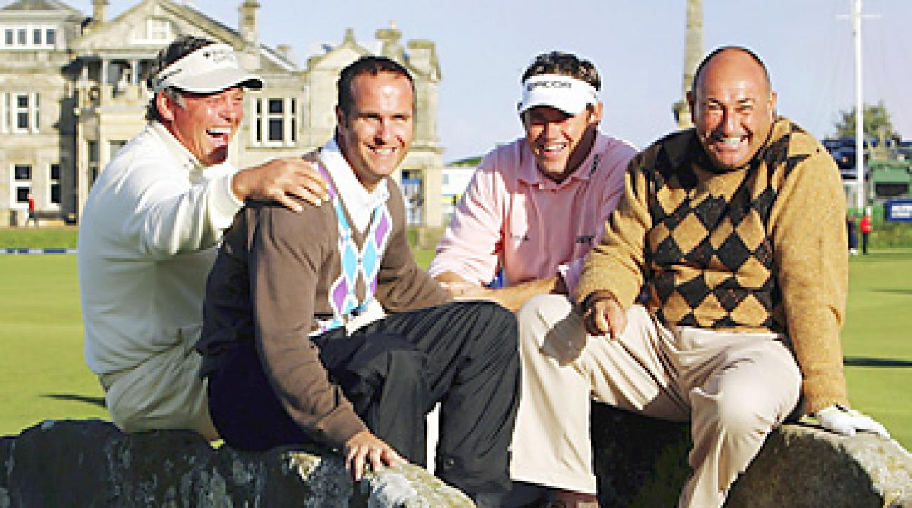 Chandler likes to have a laugh with clients such as (from left) Clarke, cricketer Michael Vaughan and Lee Westwood