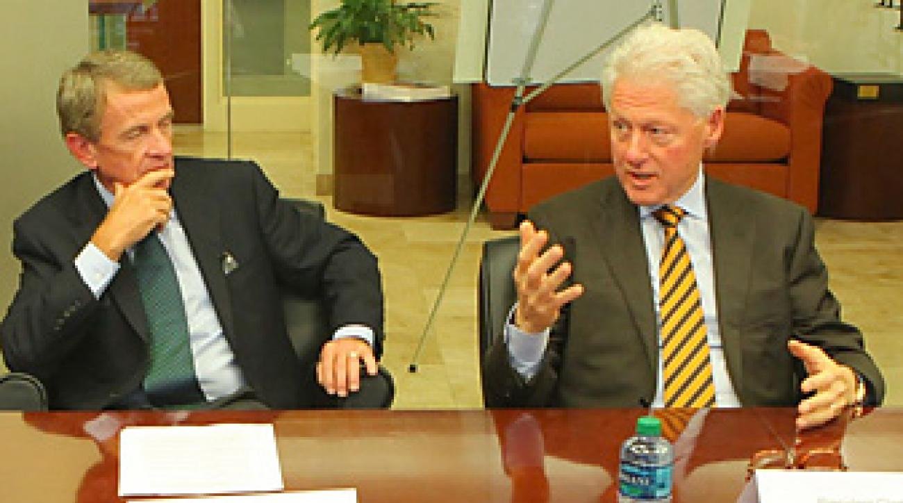 Former President Bill Clinton runs a foundation that has formed a new partnership with the PGA Tour commissioner Tim Finchem and the Humana Challenge.