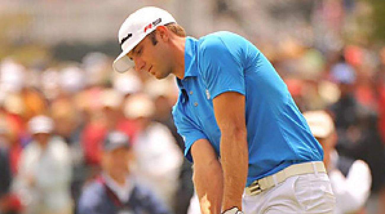 Dustin Johnson's Sunday nightmare began when he flubbed this chip on the second hole.