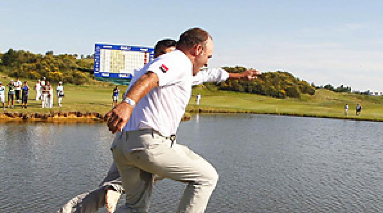 Thomas Levet jumped into a lake after winning the French Open by one shot.