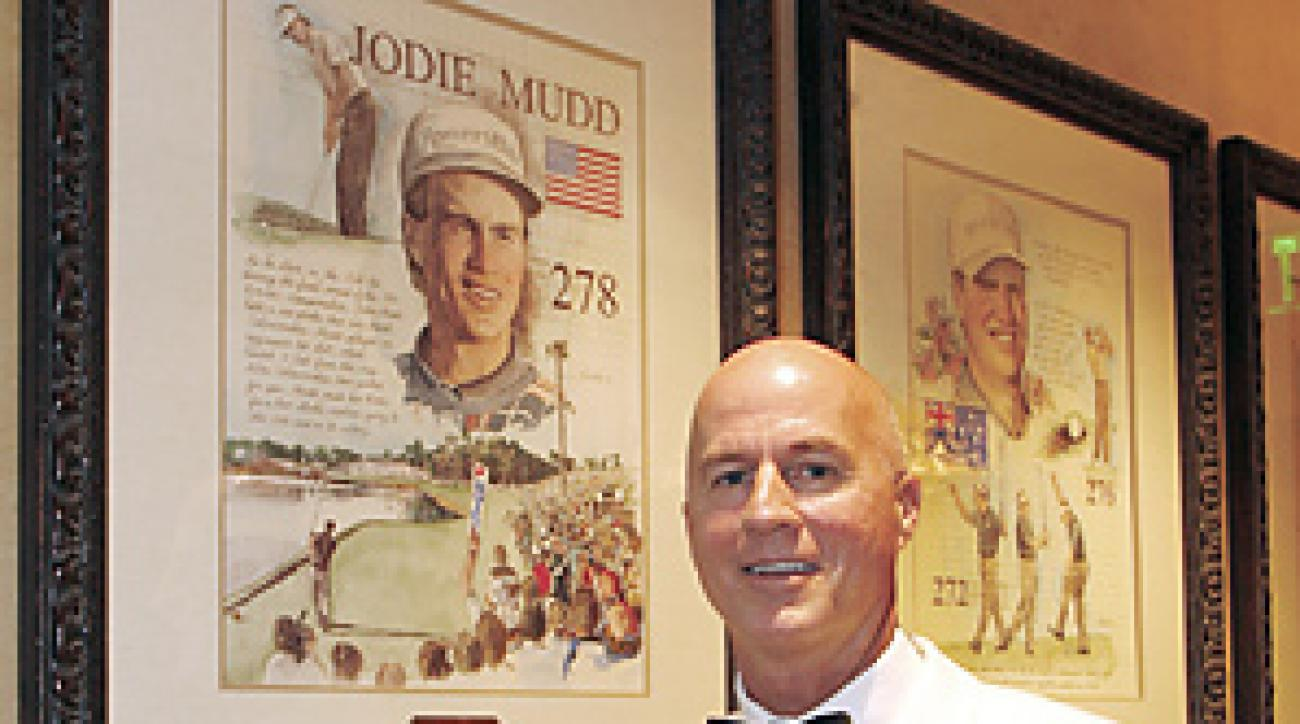 Jodie Mudd (shown in 2007 posing next to his Players' championship portrait) has joined the Champions Tour in an unexpected return to golf.