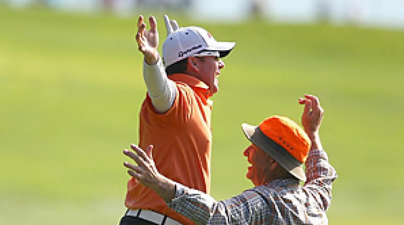 D.A. Points and Bill Murray celebrated Points' eagle on the 14th hole. Later they celebrated a win in the pro-am competition.