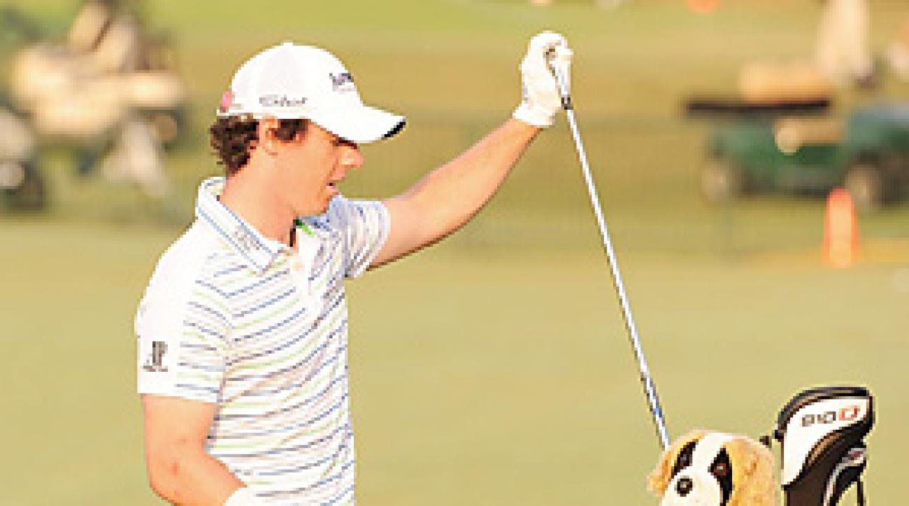 Rory McIlroy is playing his second round with a heavily taped wrist.