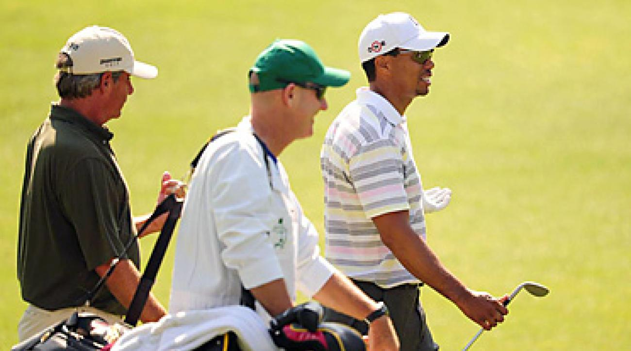 Tiger Woods hired Joe LaCava (shown here with Fred Couples at the 2010 Masters) to be his new caddie.