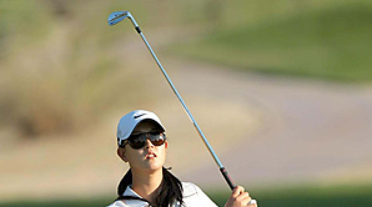 Michelle Wie is six shots behind Lydia Hall through two rounds in Dubai.