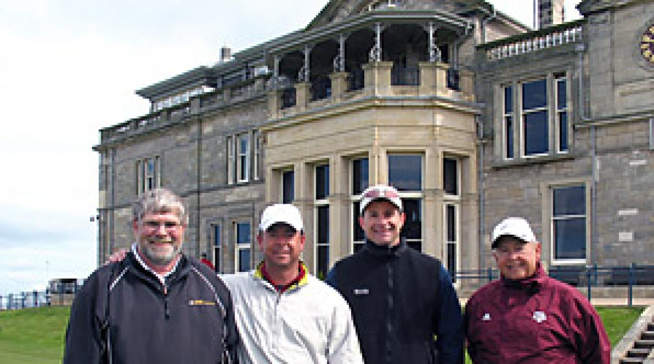 Stranded golfers (from left) Bill Henry, Ramsey McCreary, Mike Schwartz and Mac McCreary enjoyed a bonus round on The Old Course on Tuesday morning.