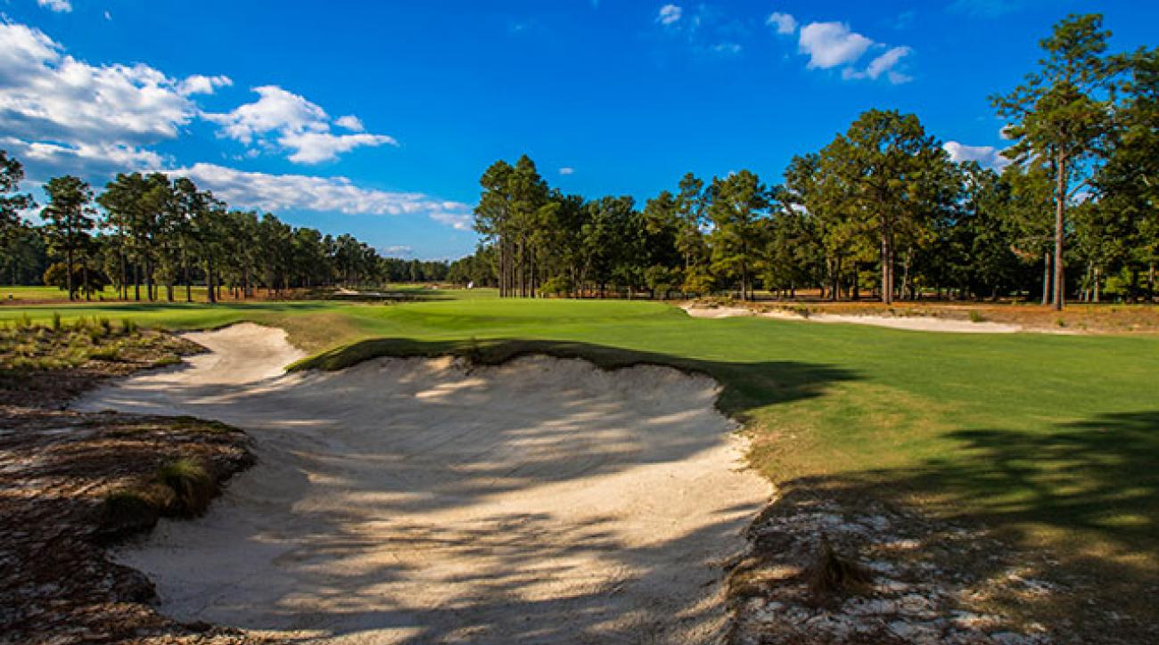 The par-3, 202 yard 15th hole at Pinehurst No. 2.