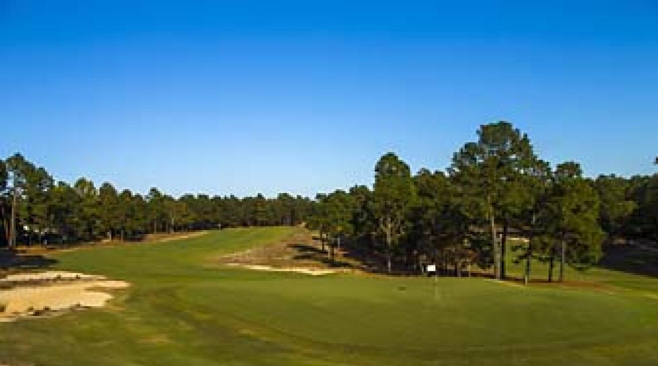 The 5th hole at Pinehurst No. 2 plays as a shortish par-5 for pros at the U.S. Open.