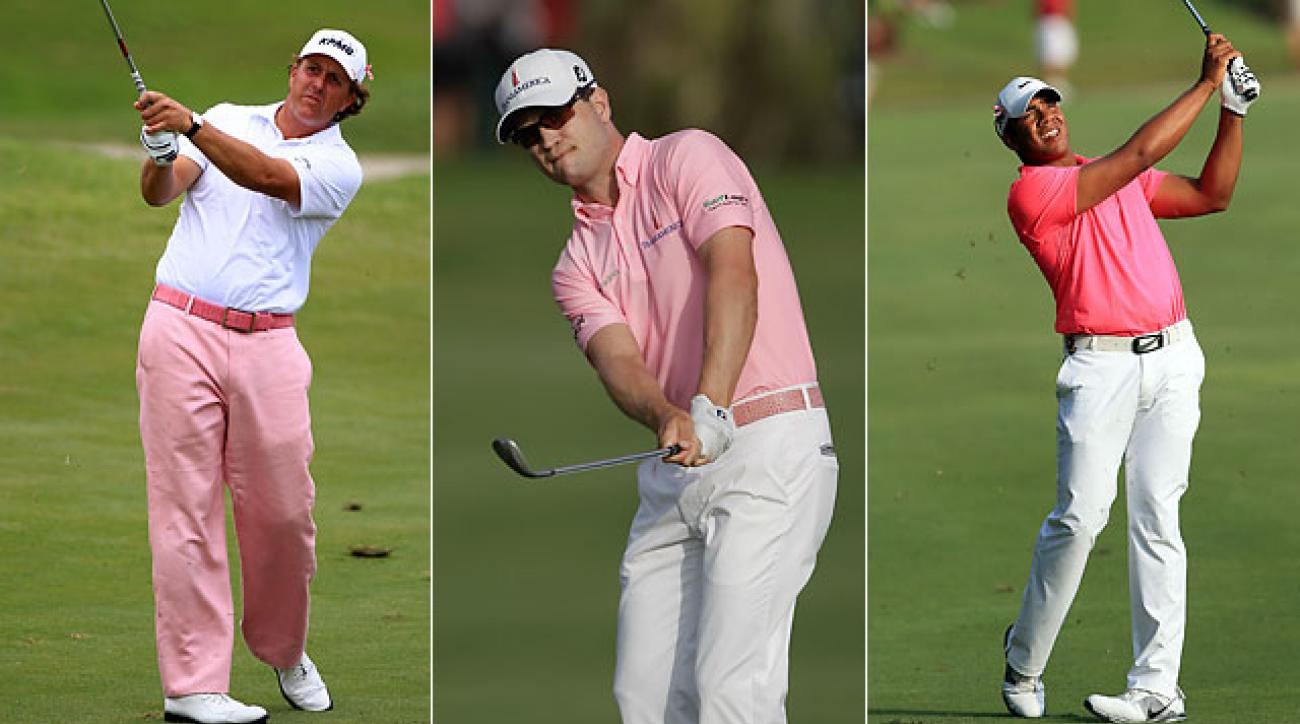Phil Mickelson, Zach Johnson and Jhonhattan Vegas at the 2012 Players.