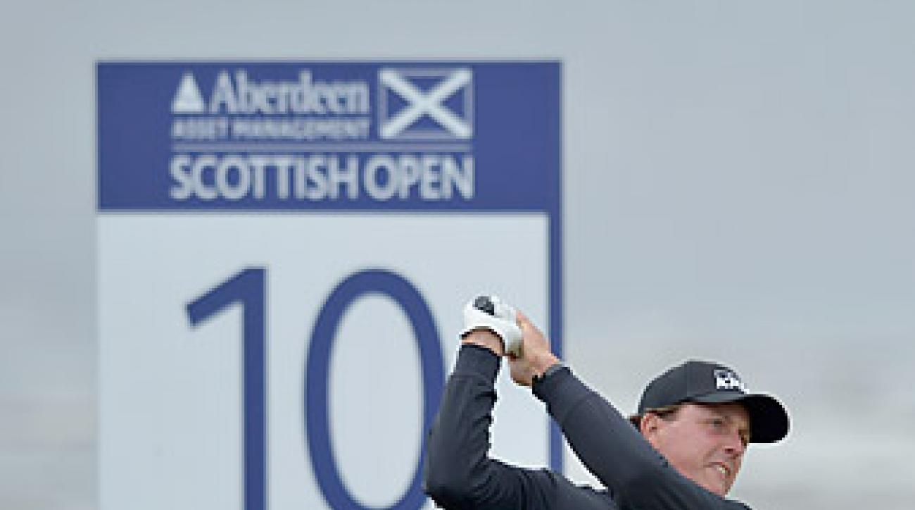 "Phil Mickelson opened with a 73 at Castle Stuart. <strong><a href=""http://www.golf.com/photos/2012-scottish-open"">More photos</a></strong>"