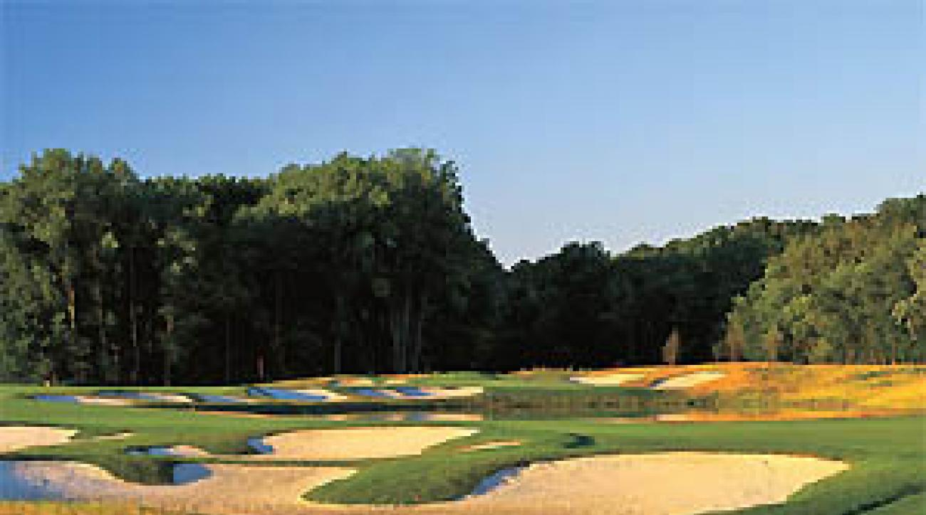 "The green at Prairie View's 13th has more traps than a Duke full-court press. <span class=""picturesource"">Ken E. May</span>"