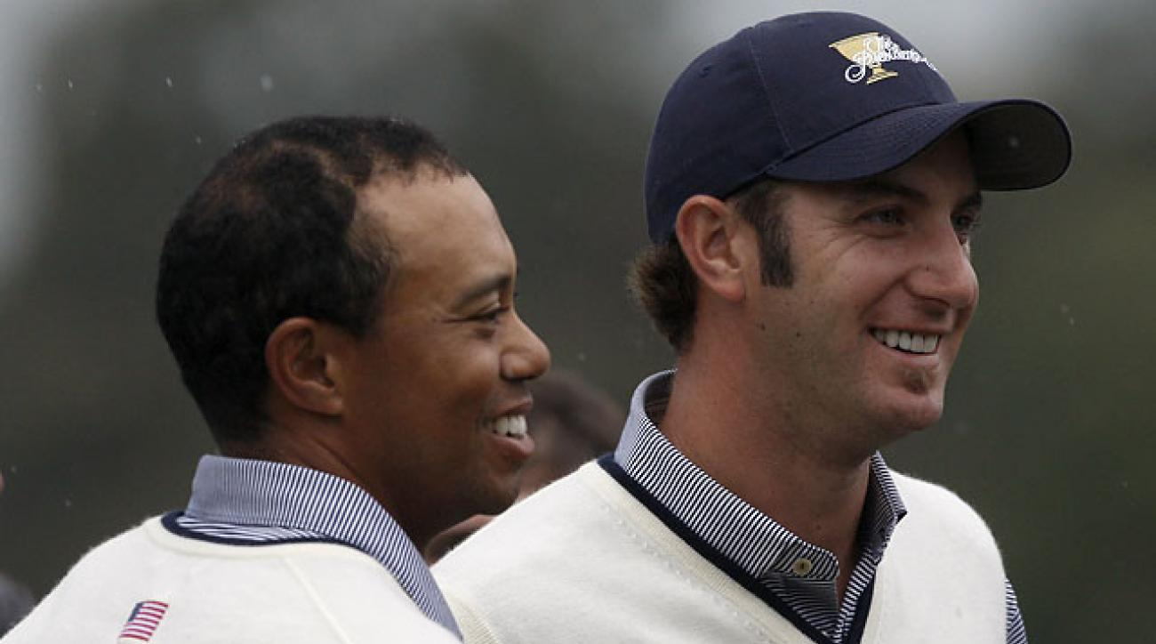Tiger Woods and Dustin Johnson played together at the 2011 Presidents Cup in Melbourne, Australia.