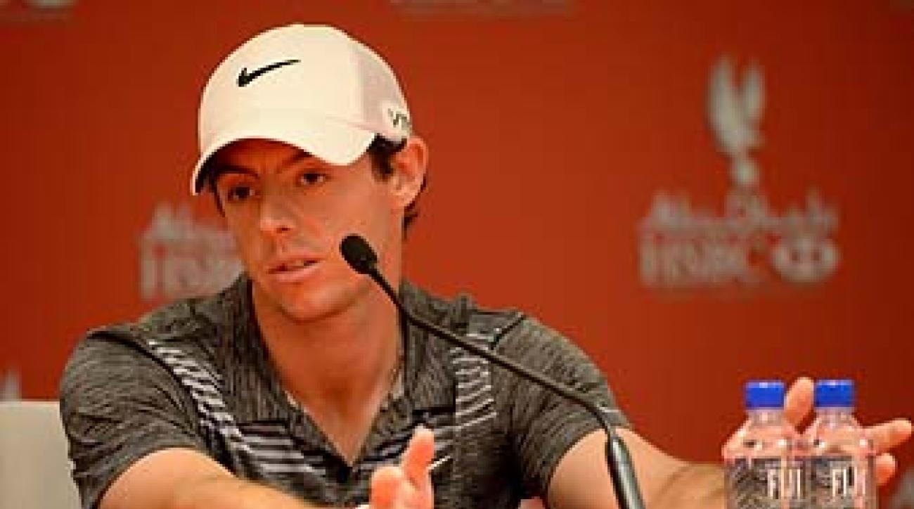 Rory McIlroy talks to the media following his third round at the Abu Dhabi HSBC Championship on Saturday.
