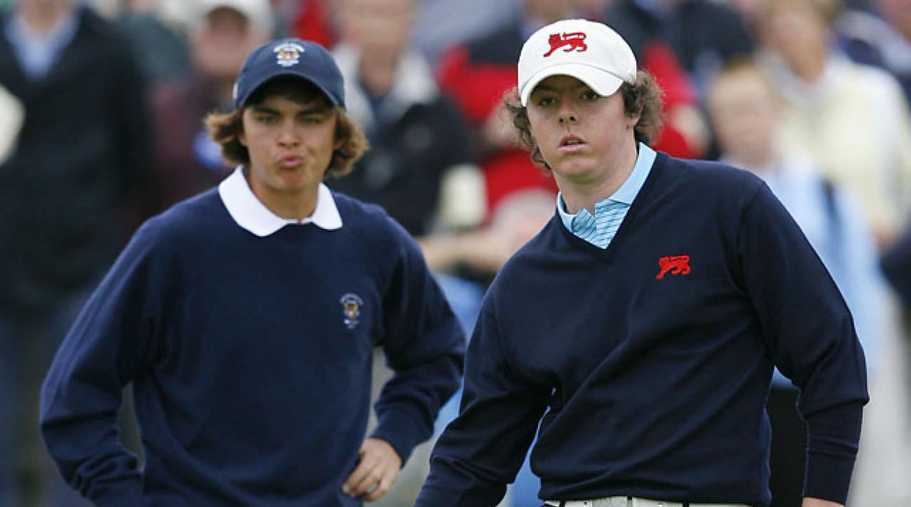 Rickie Fowler and Rory McIlroy at the 2007 Walker Cup at Royal County Down in Northern Ireland.