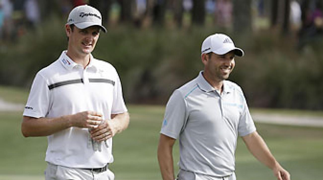 Justin Rose and Sergio Garcia on Saturday at the Players Championship. In a rules incident on the 18th hole, neither Rose nor Garcia thought Rose's ball moved after looking at a video replay.