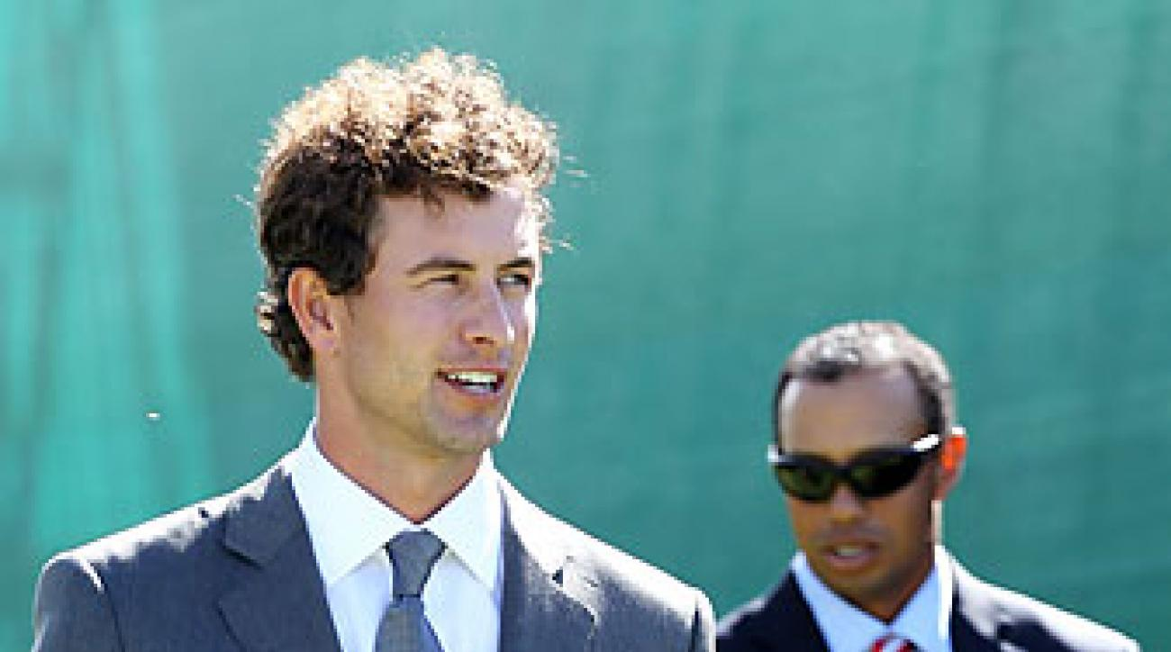 Adam Scott, left, and Tiger Woods at the opening ceremony Wednesday.