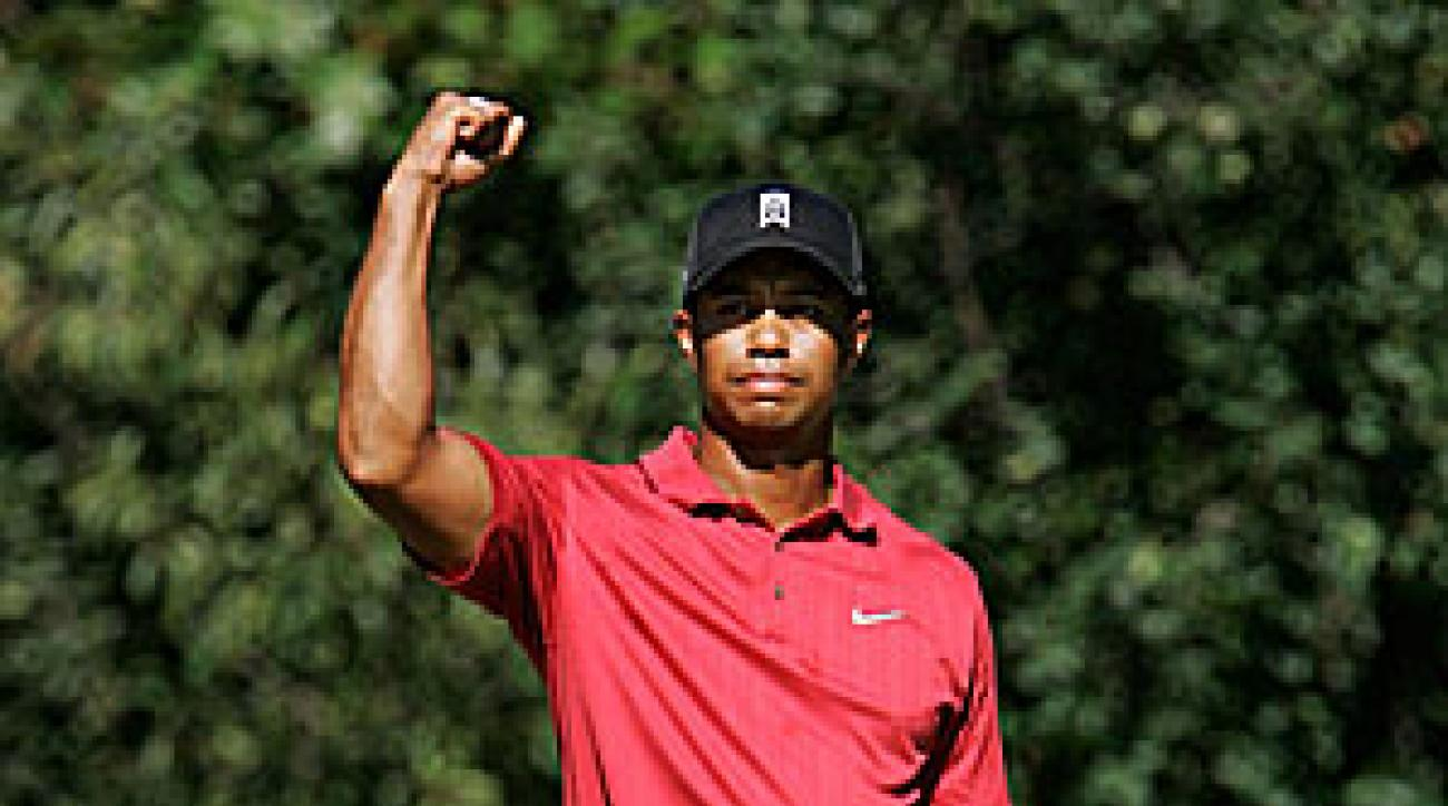 Tiger Woods after making his dramatic birdie on No. 12.