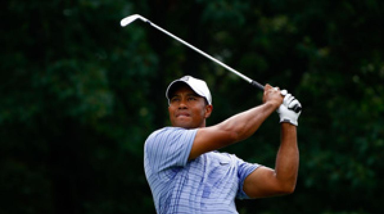 Tiger Woods made eight birdies, an eagle and a bogey on Saturday.
