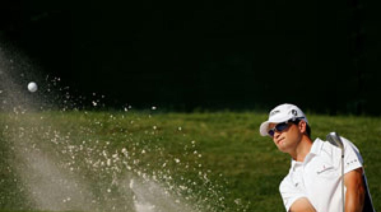 Zach Johnson just missed holing a bunker shot for a 59.
