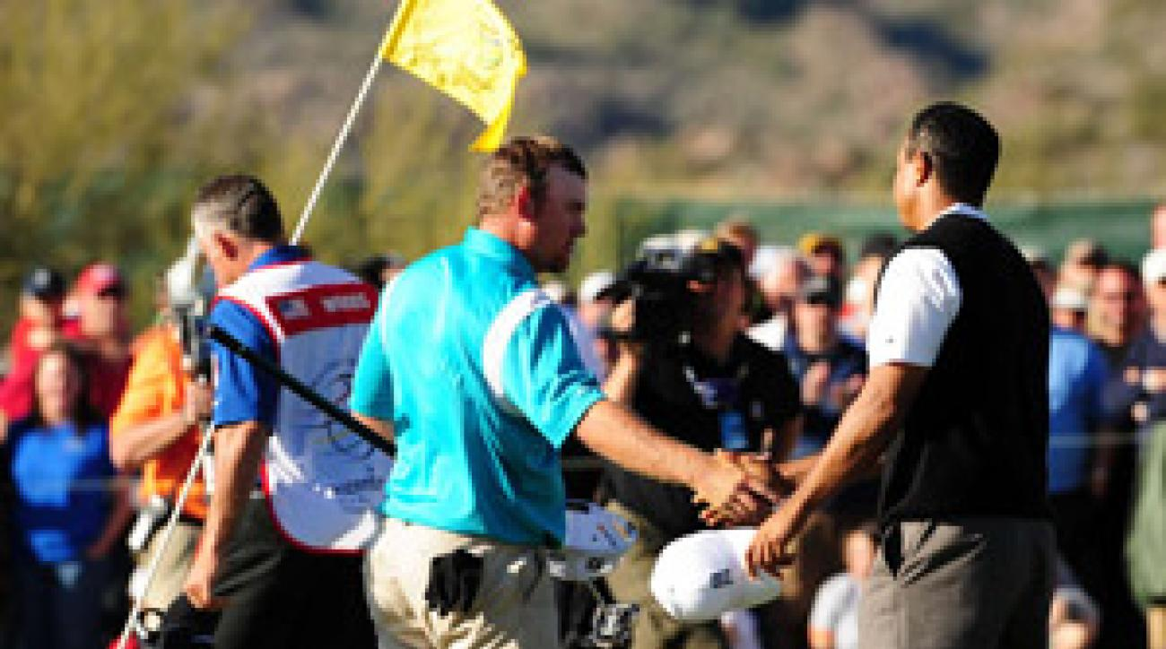 Tiger Woods had to win four of the last five holes to beat J.B. Holmes at the WGC-Accenture Match Play Championship in February.