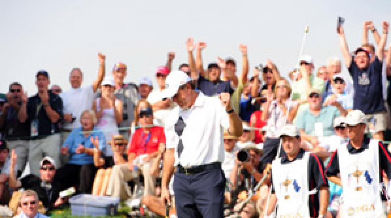 Phil Mickelson and Anthony Kim won 1 1/2 points on Friday.
